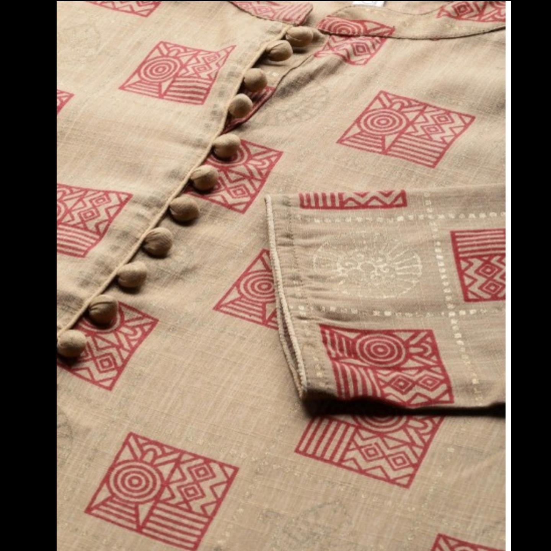 Beige & Maroon Printed Kurta With Palazzos