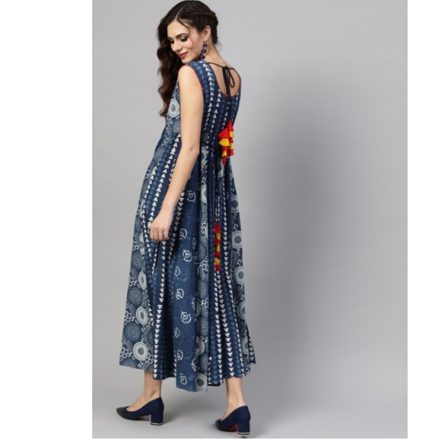 Blue & White Floral Printed Sleeveless Maxi With Tassel Details