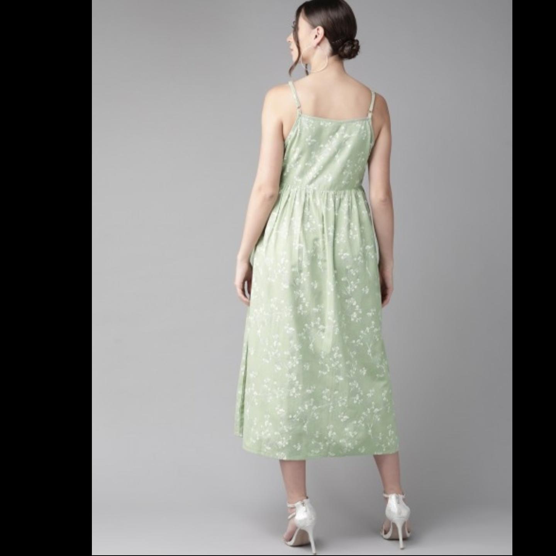 Green & White Khari Print A-Line Dress