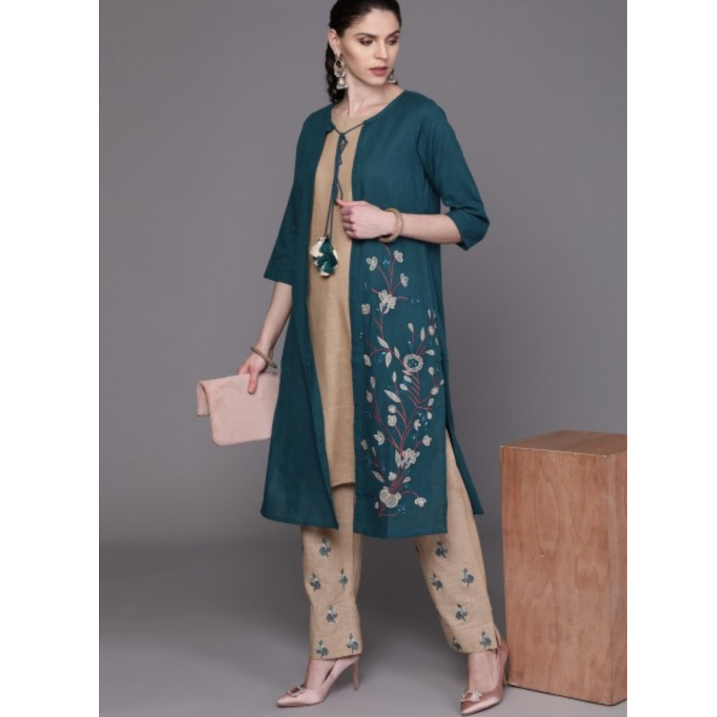 Teal Blue & Brown Embroidered Layered Kurta With Palazzos
