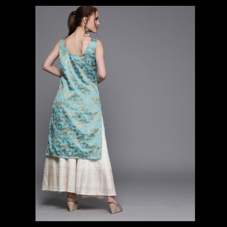 Blue & Gold-Toned Woven Design Brocade Straight Kurta