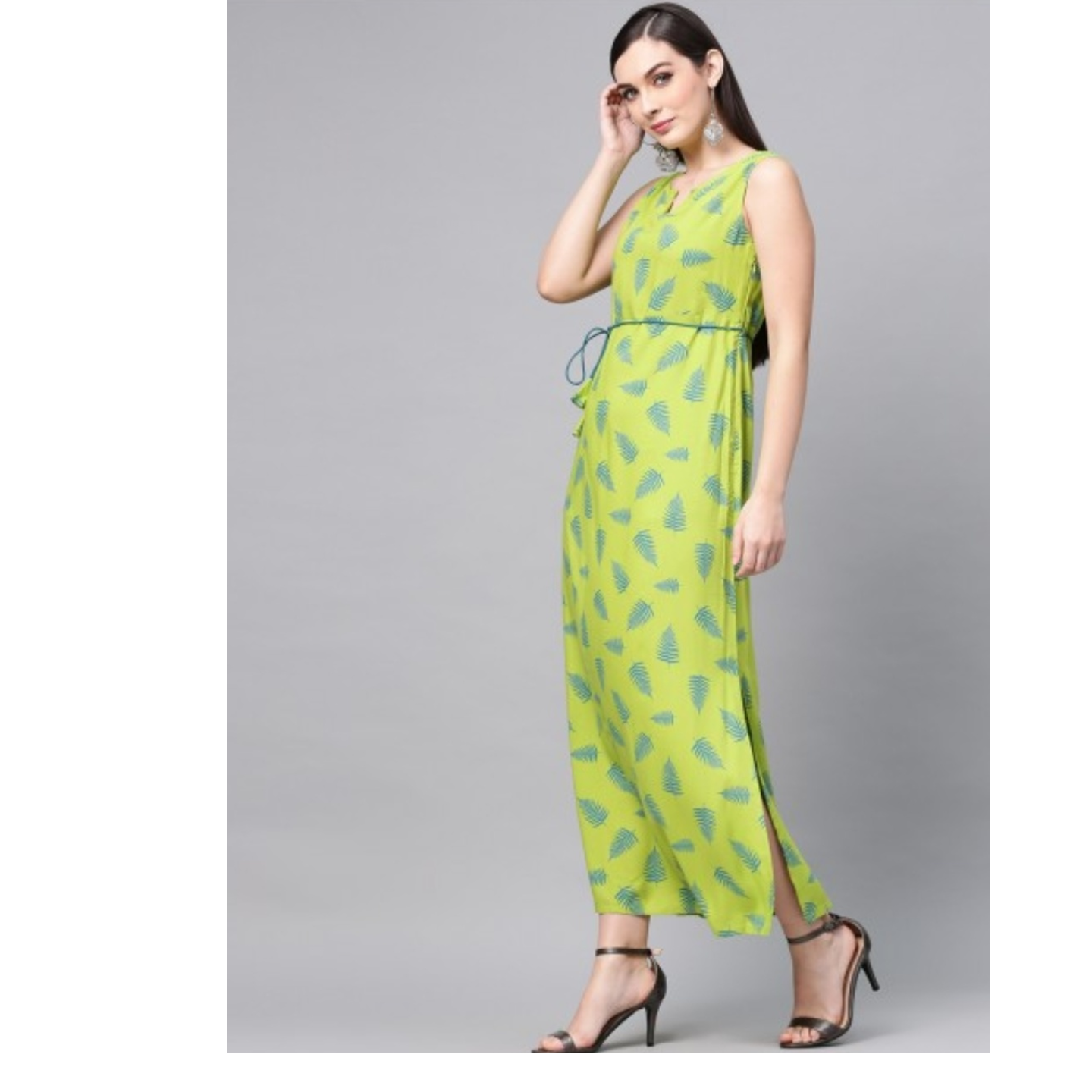 Green Printed Side Slit Sleeveless Maxi