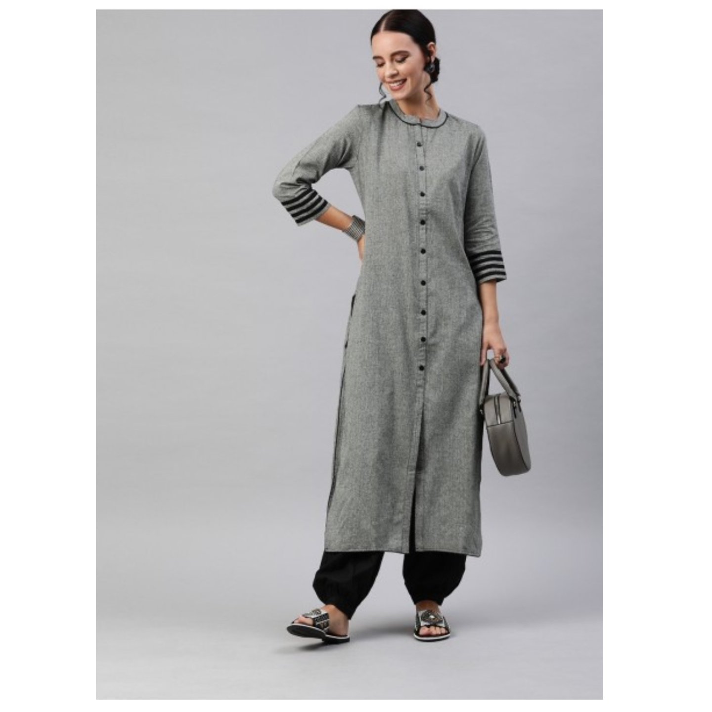Grey Solid Chambray Straight Kurta