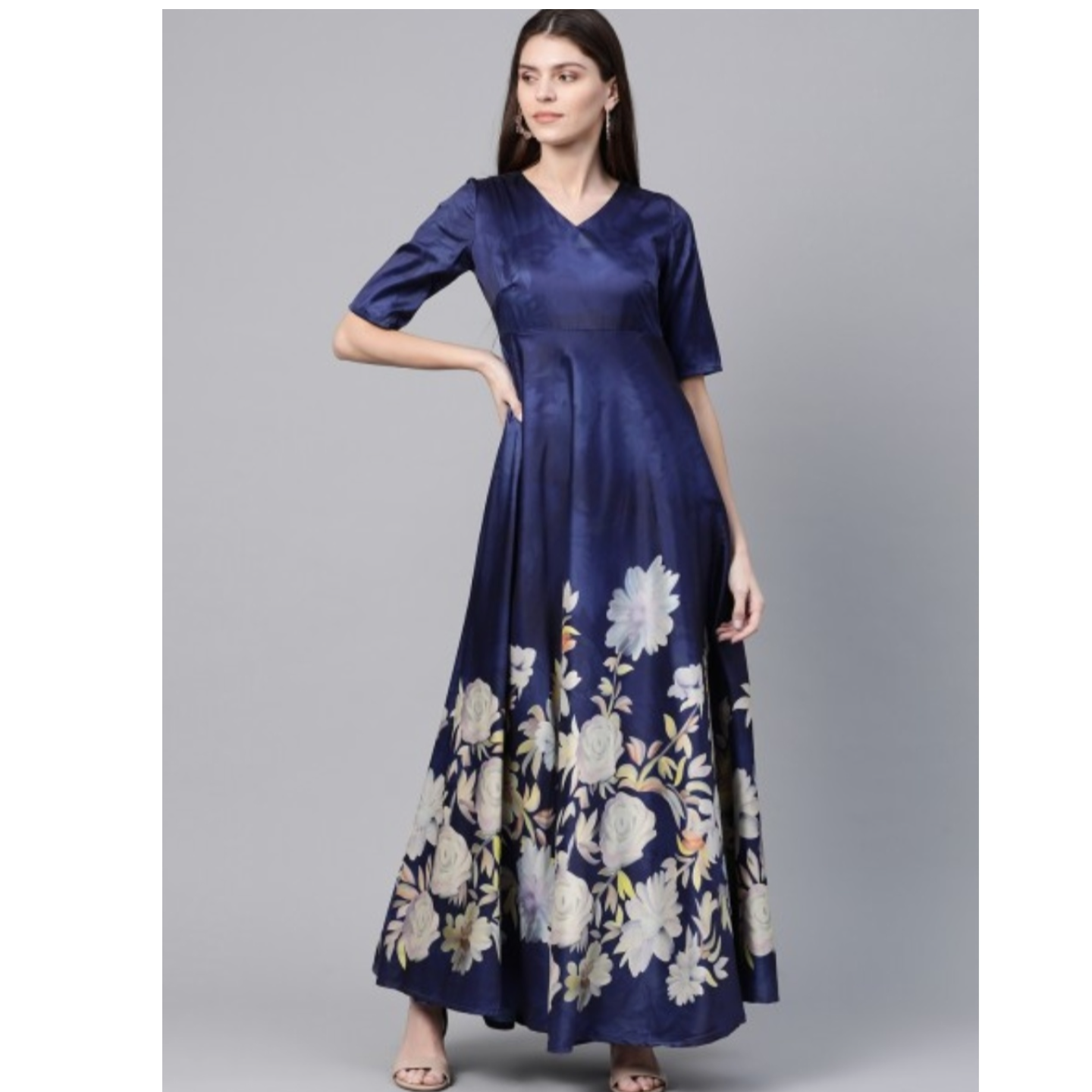 Navy Blue & White Digital Floral Print Maxi Dress