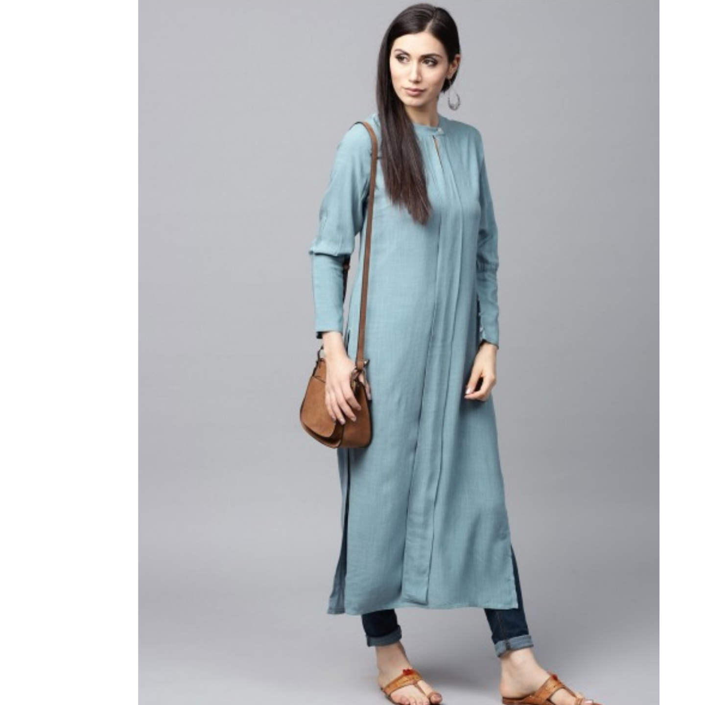 Light Blue Solid Pleated Straight Kurta