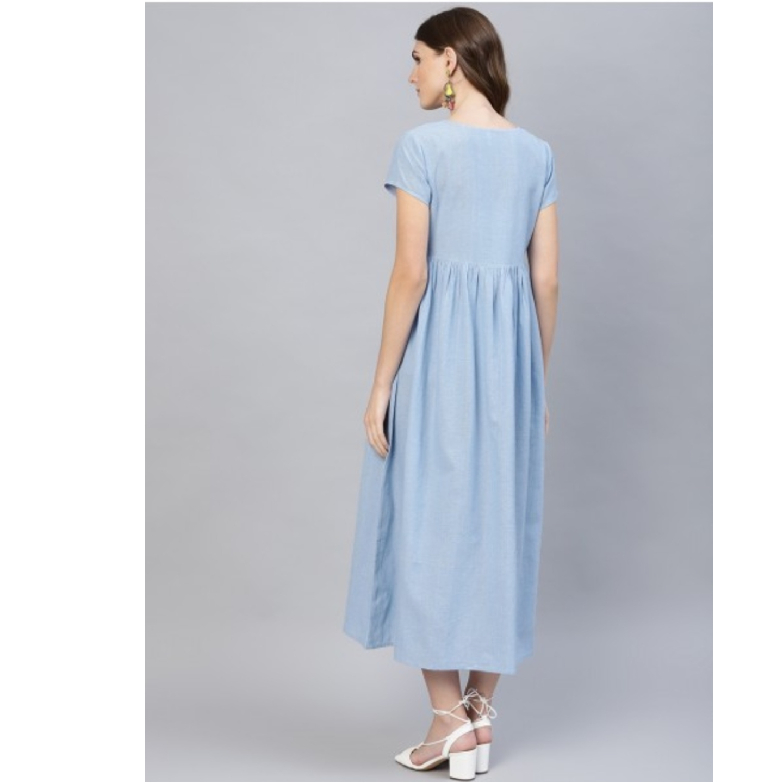 Light Blue Embroidered Dress