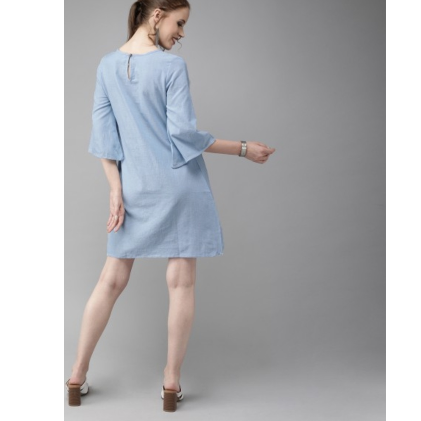 Blue Solid A-Line Dress With Embroidery