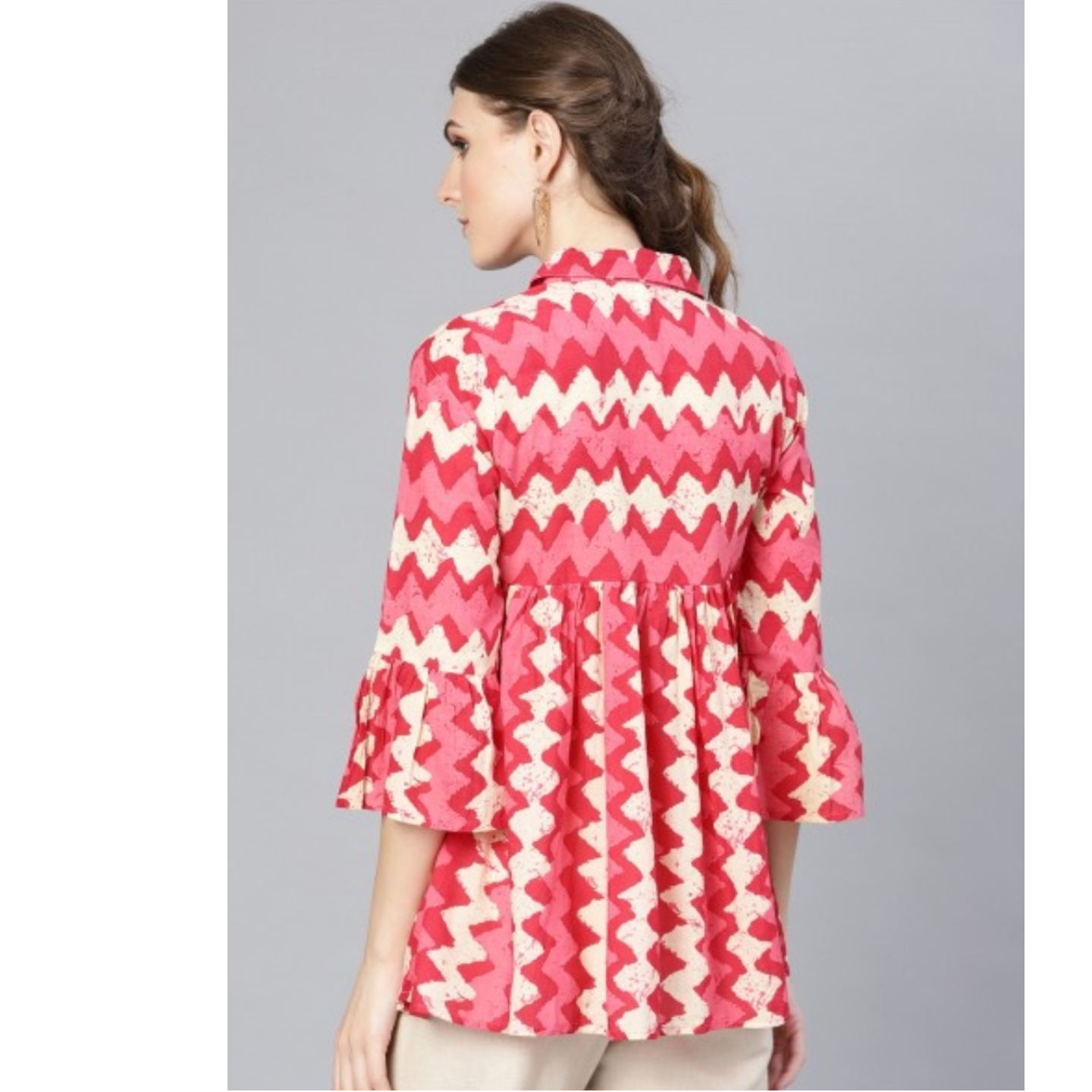 Pink And Offwhite Printed Tunic