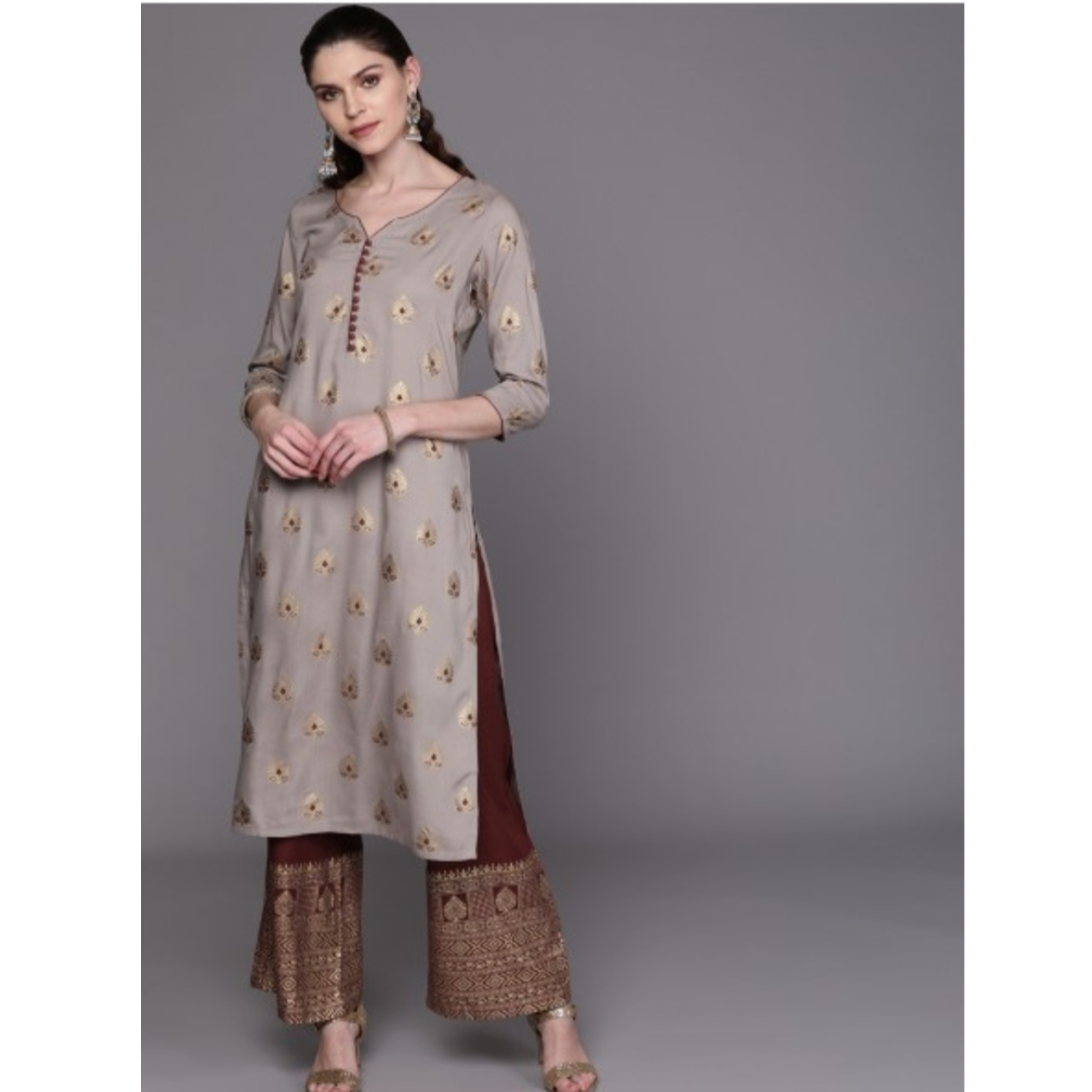Grey & Maroon Printed Kurta With Palazzos
