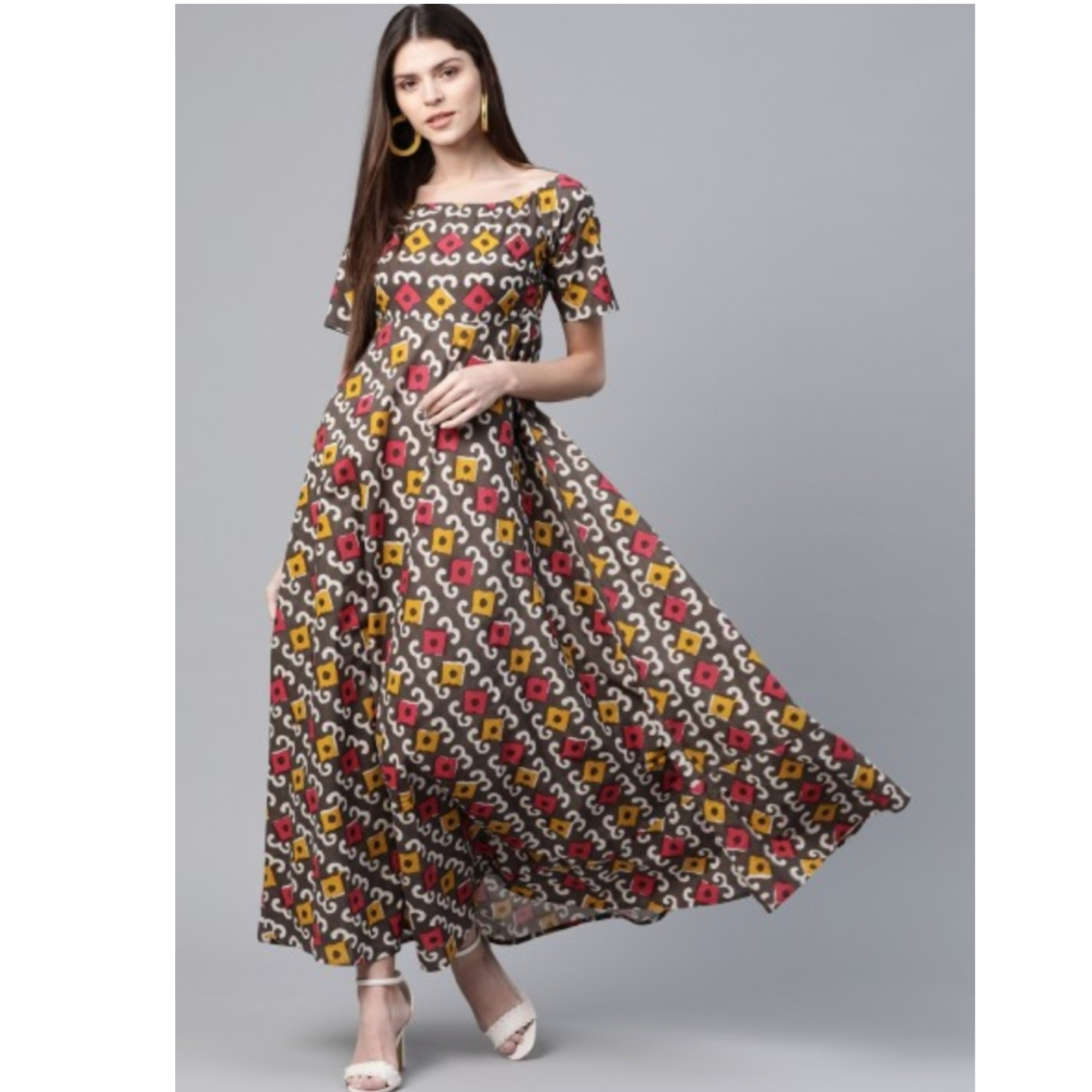 Brown & Red Ethnic Printed Maxi Dress