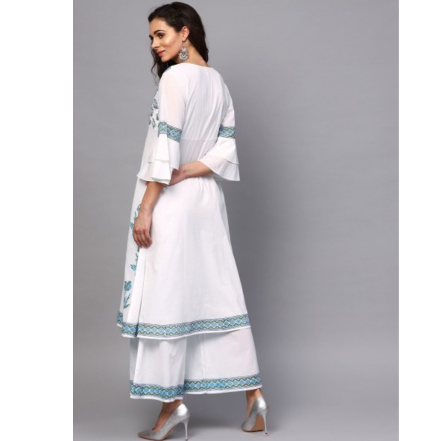 White & Blue Hand Block Printed A-Line Kurta With Palazzo Set