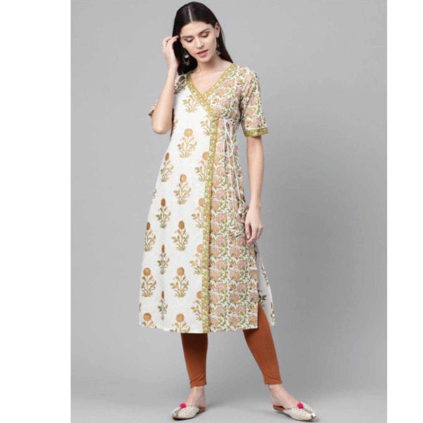 White & Green Angrakha Printed Straight Kurta