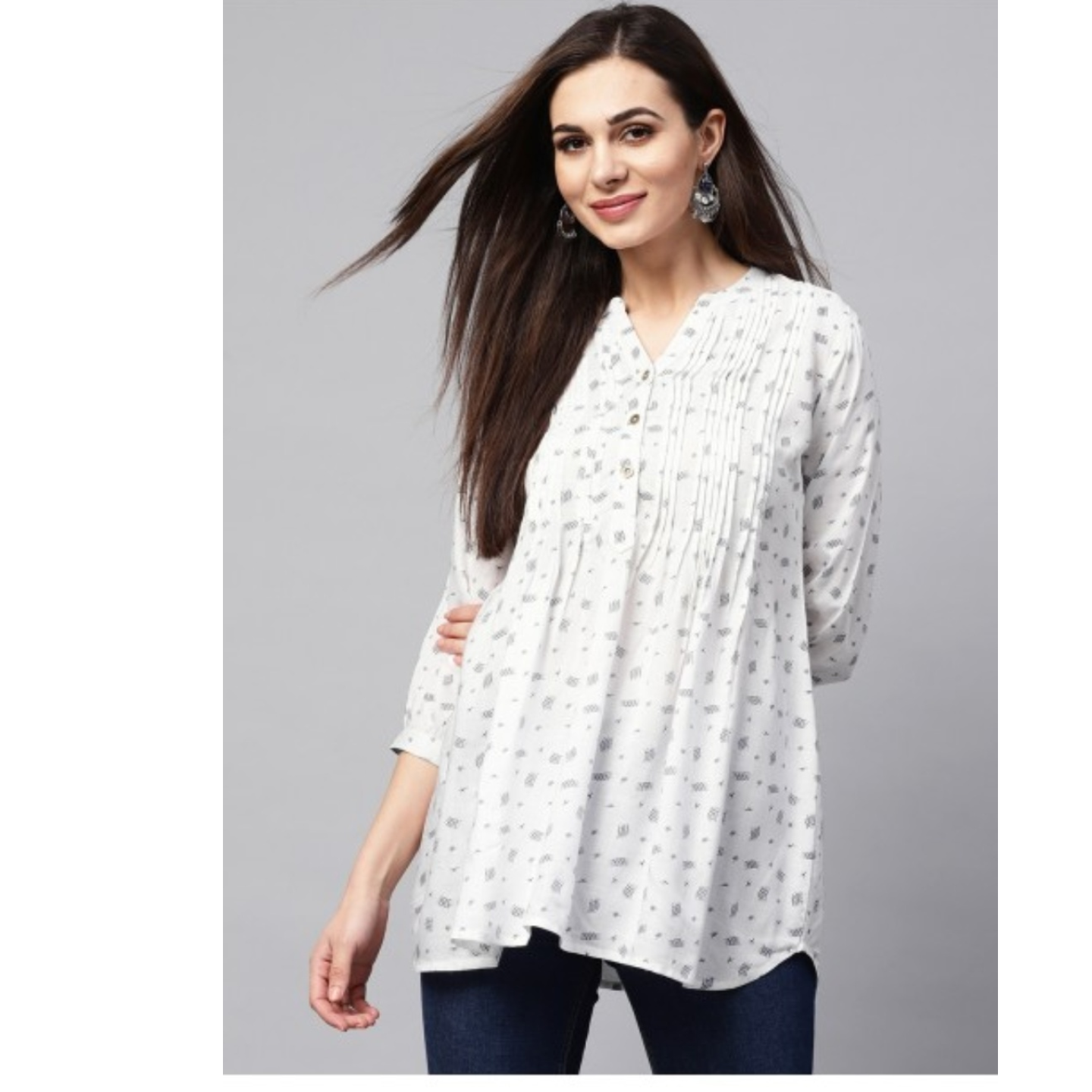 White Printed Tunic With Tucks
