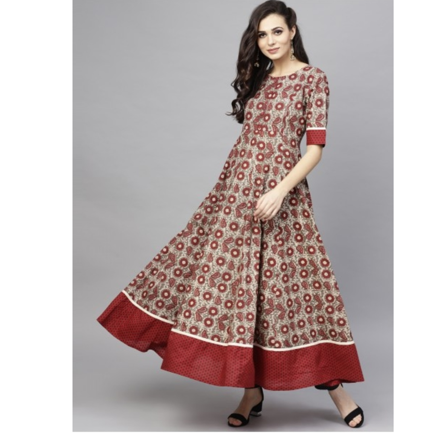 Maroon & Grey Floral Printed Flared Anarkali
