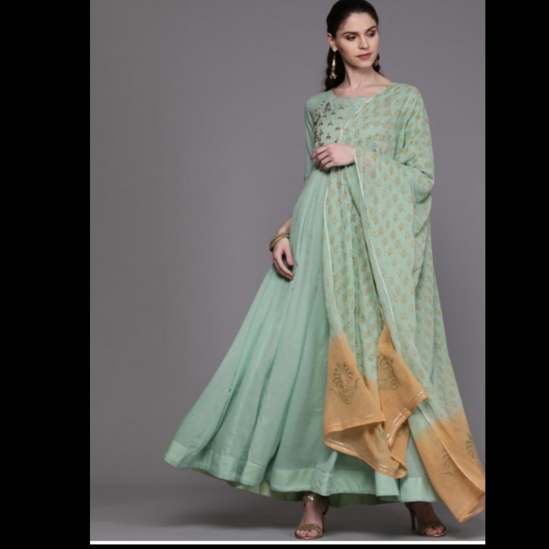 Sea Green & Golden Yoke Design Anarkali Kurta With Dupatta