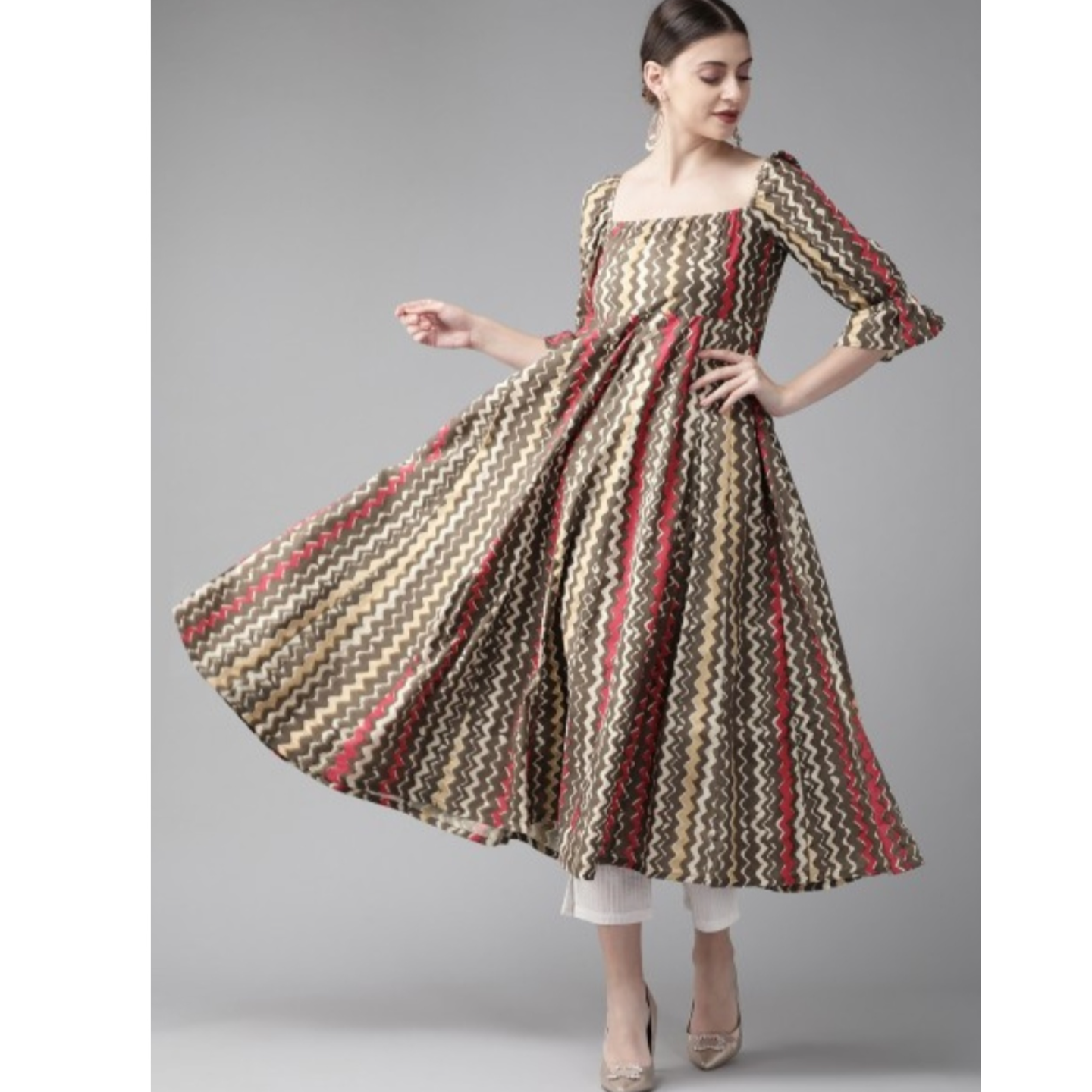 Brown & Red Striped Anarkali Kurta