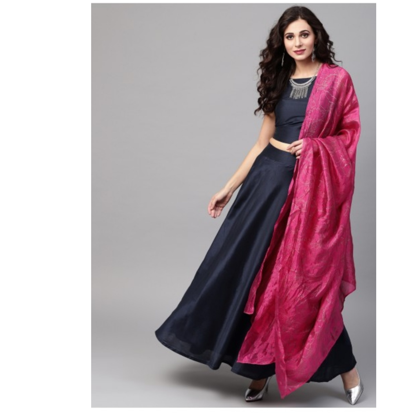 Navy Blue & Pink Solid Ready To Wear Lehenga & Blouse With Dupatta