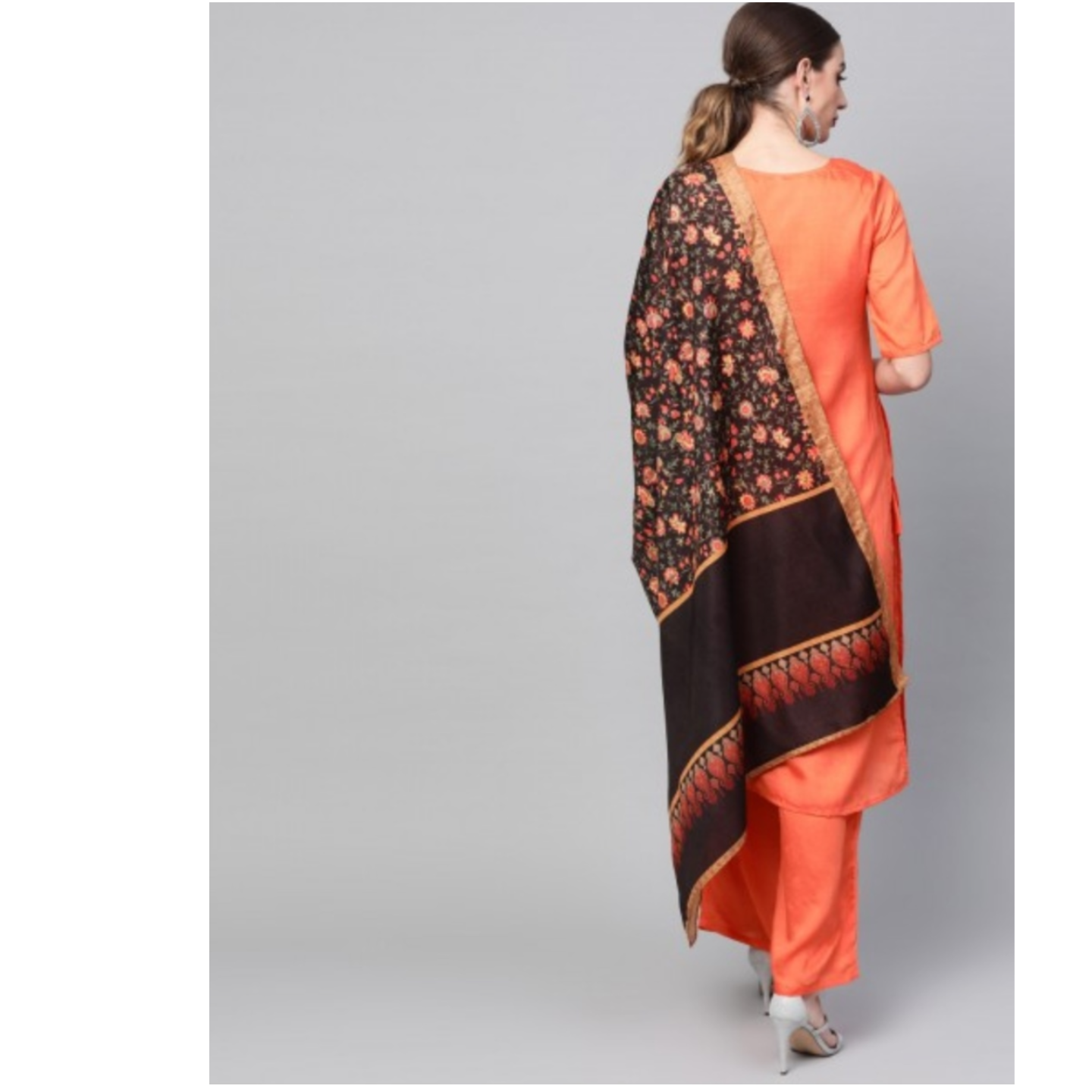 Orange Solid Kurta Set With Digital Printed Dupatta