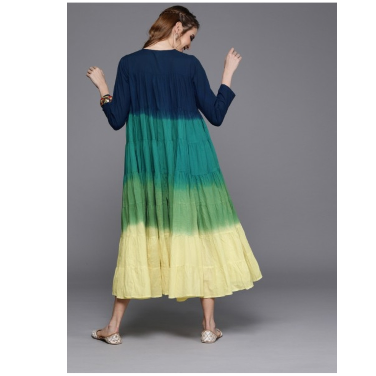 Blue & Yellow Dyed A-Line Tiered Ombre Dress With Gathers
