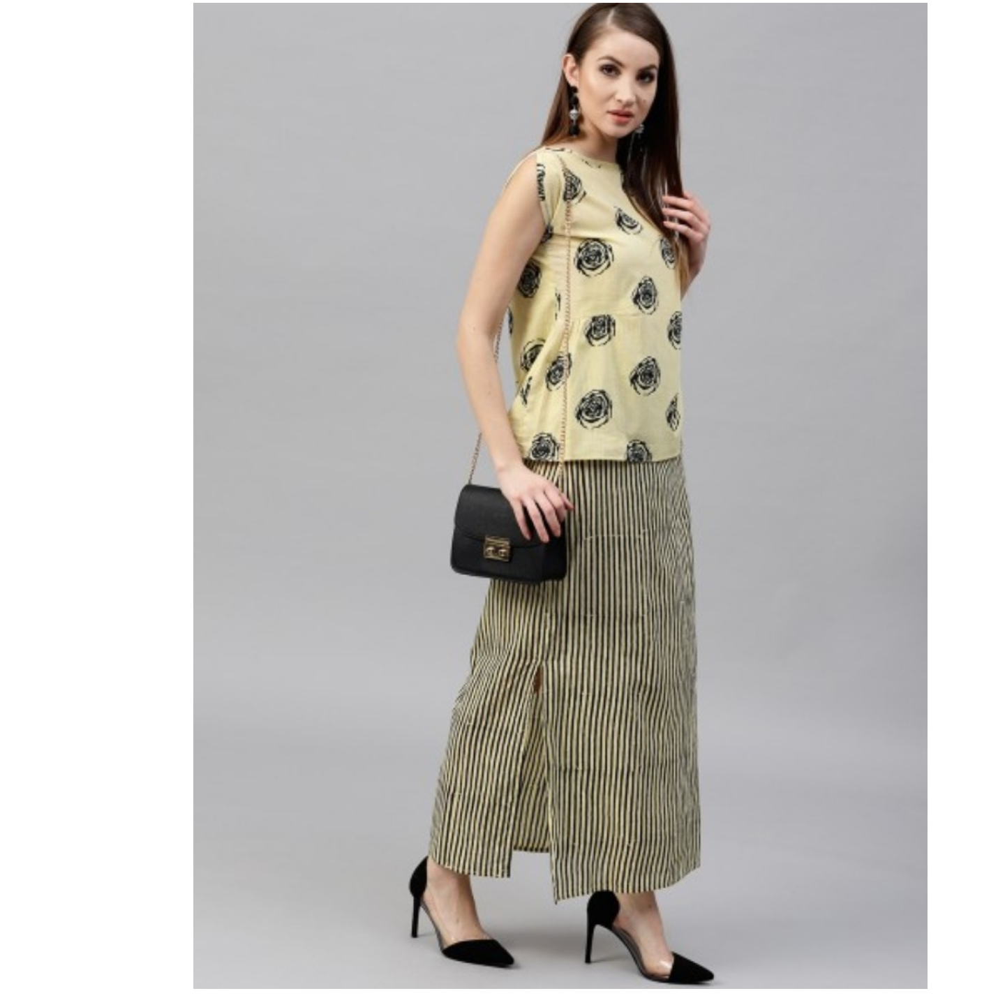 Beige & Black Bagru Stripe Printed Straight Skirt