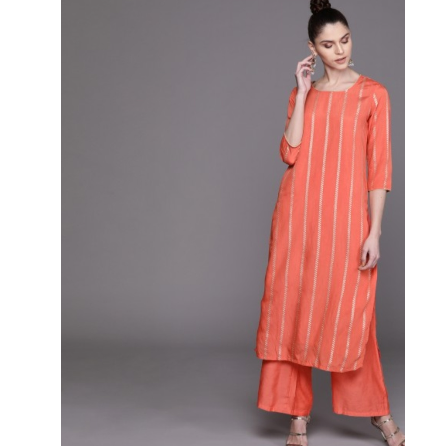 Coral Orange & Silver Self-Striped Kurta With Palazzos