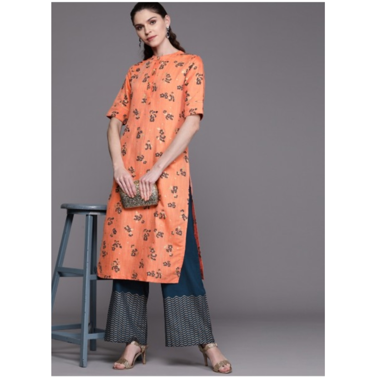 Peach-Coloured & Teal Blue Floral Print Kurta With Palazzos