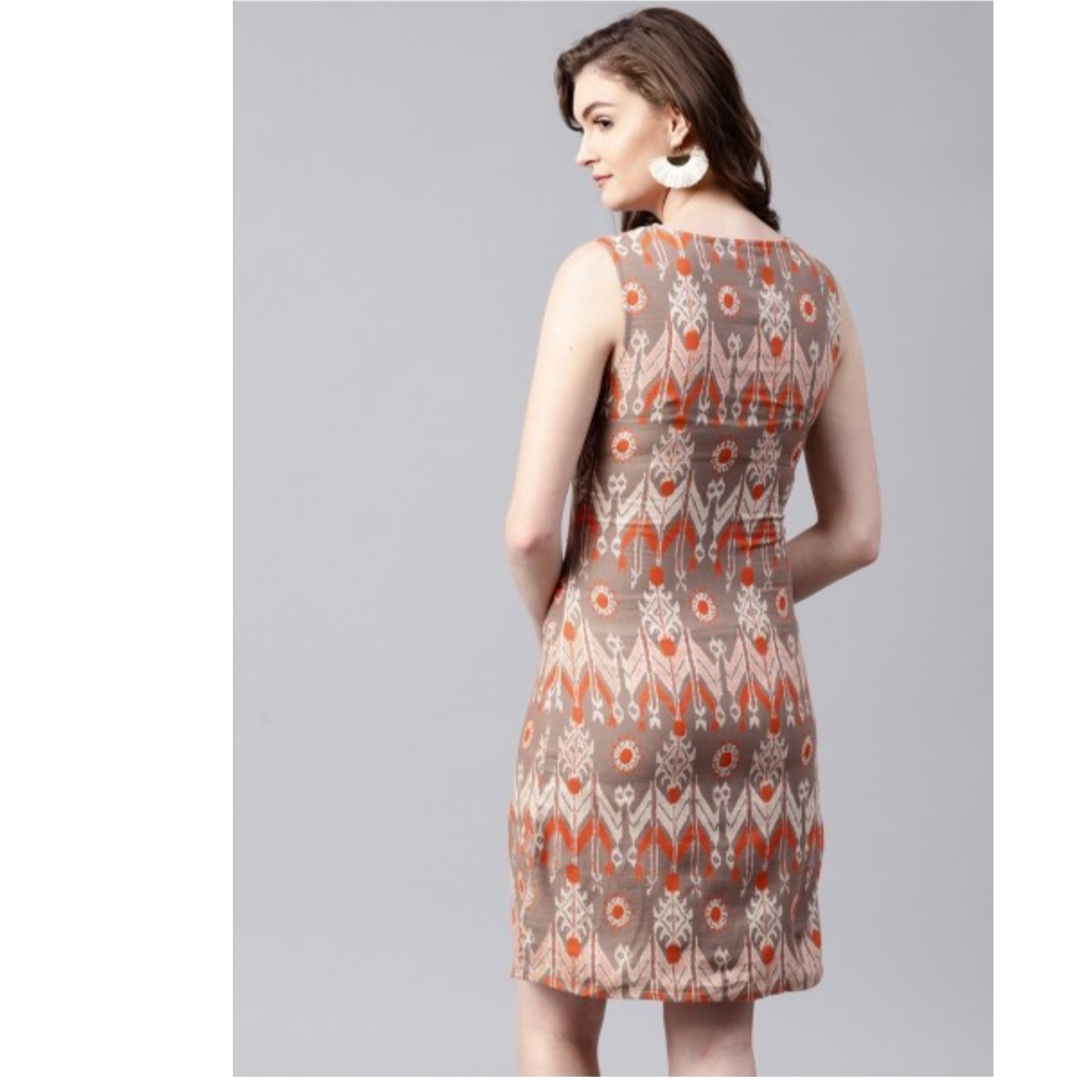 Grey & Orange Printed Shift Dress