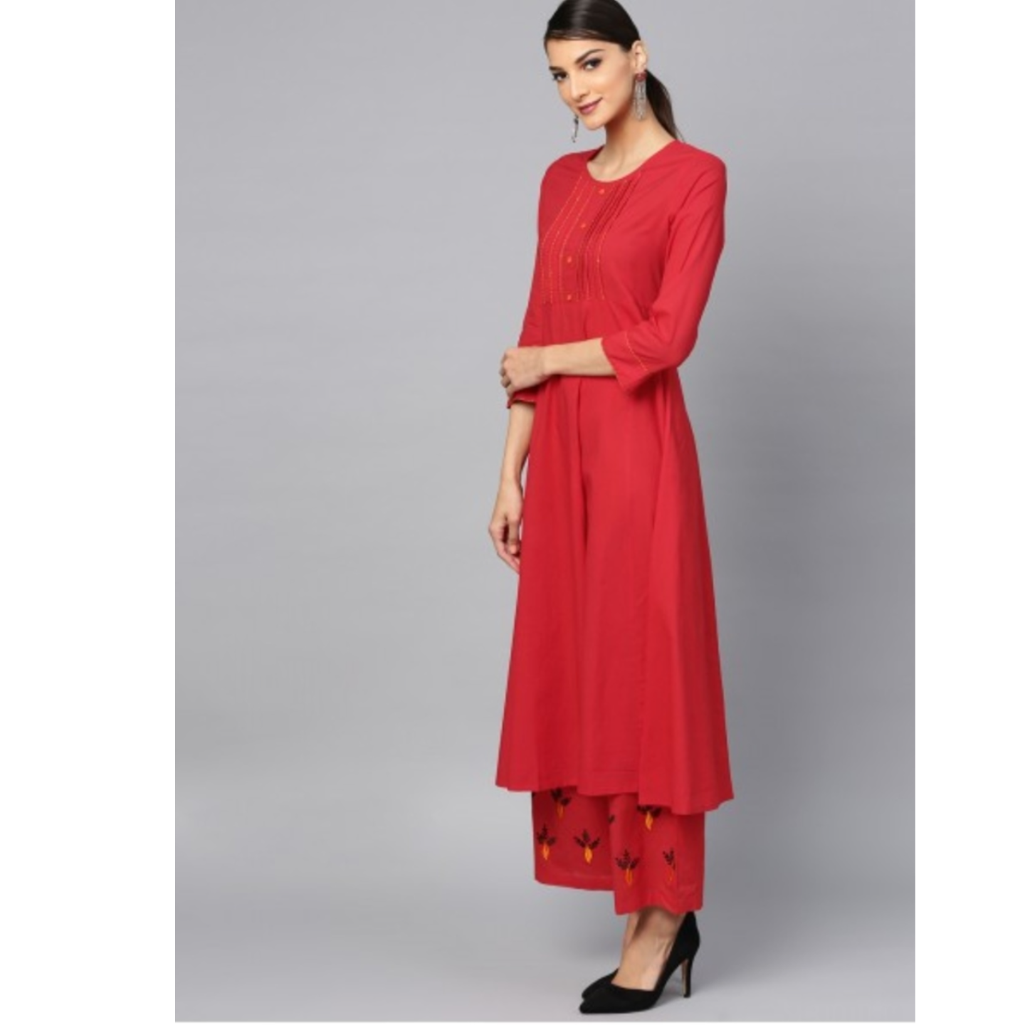 Red Embroidered Anarkali & Palazzo With Tie & Dye Dupatta Set