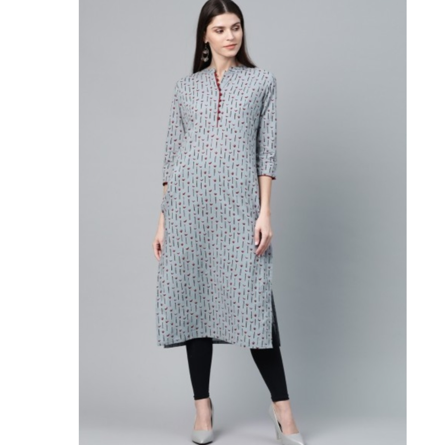 Grey & Maroon Printed Straight Kurta