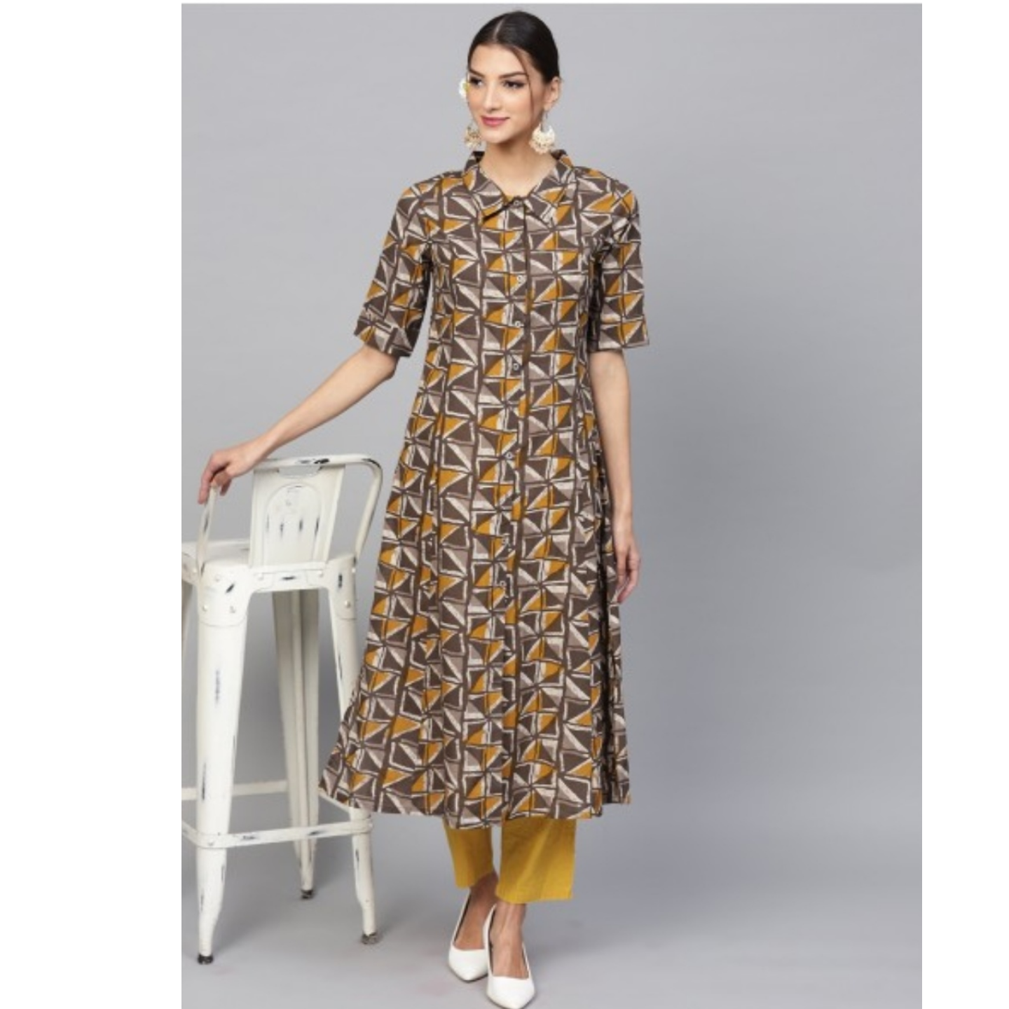 Brown & Mustard Printed Button Down A-Line Kurta