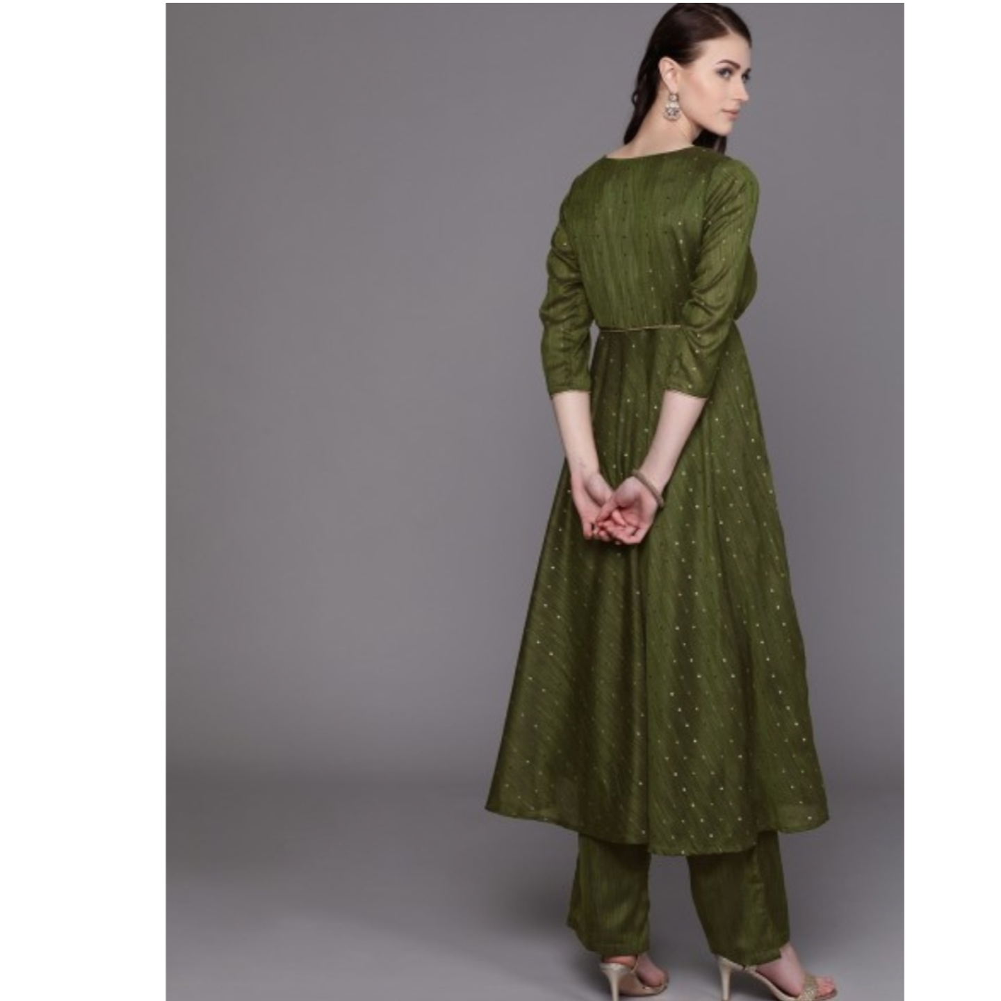 Olive Green & Golden Self Design Kurta With Palazzos With Belt