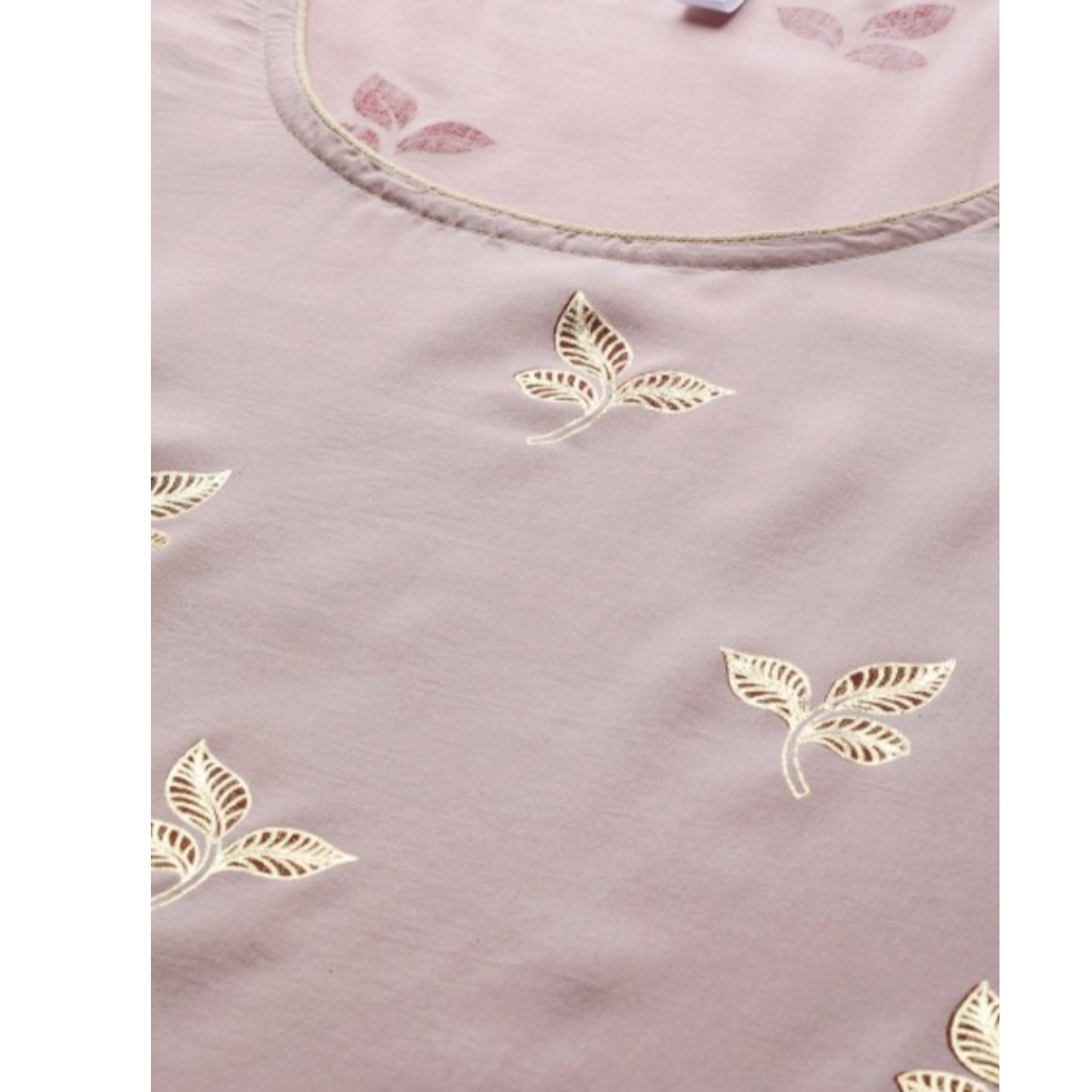 Dusty Pink & Golden Foil Printed Kurta With Palazzos