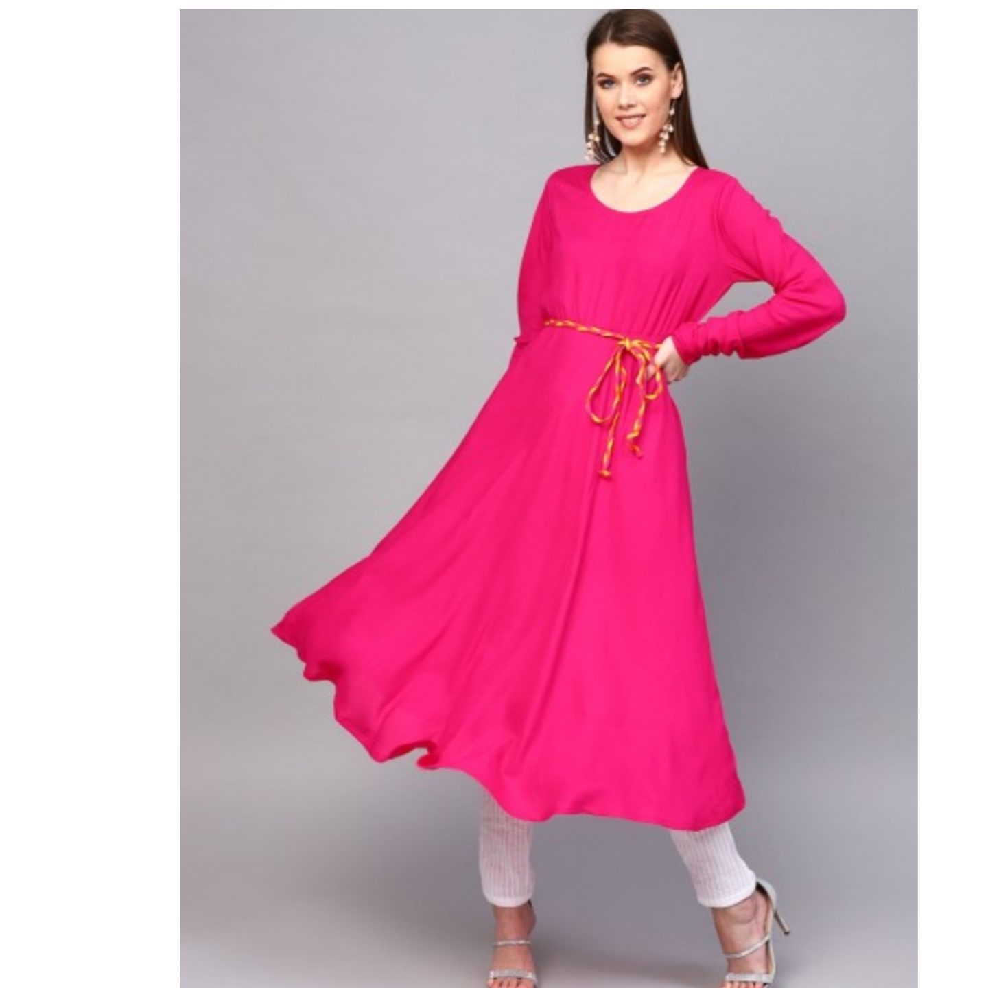 Magenta Solid Flared Anarkali