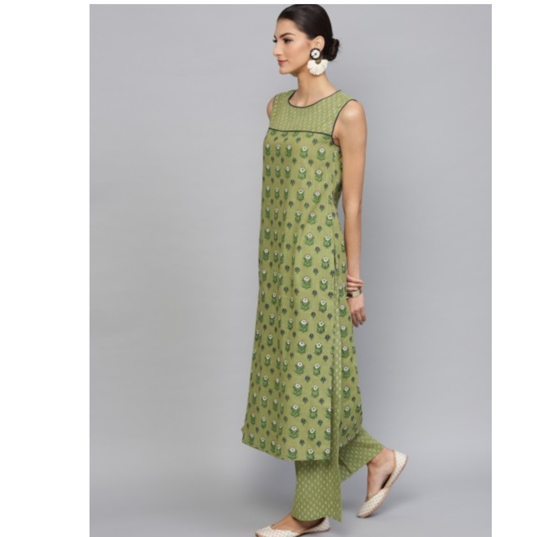 Green & Blue Floral Printed Sleeveless Kurta With Palazzo Set