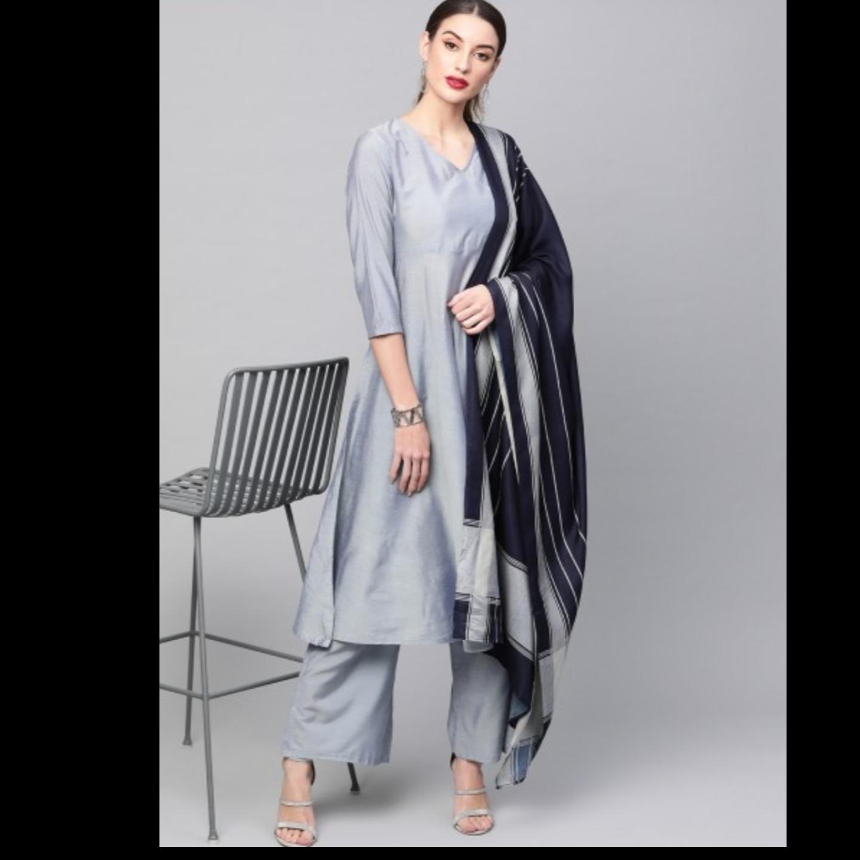 Grey Solid Anarkali Kurta Set With Digital Printed Dupatta