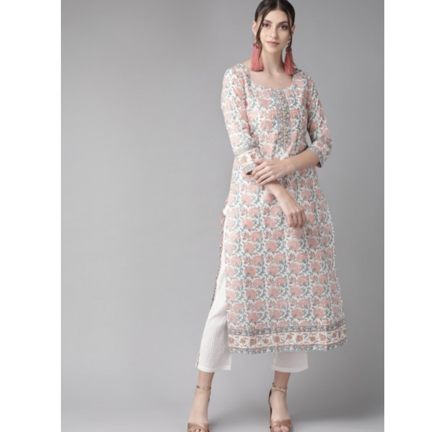 White & Rust Red Printed Straight Kurta