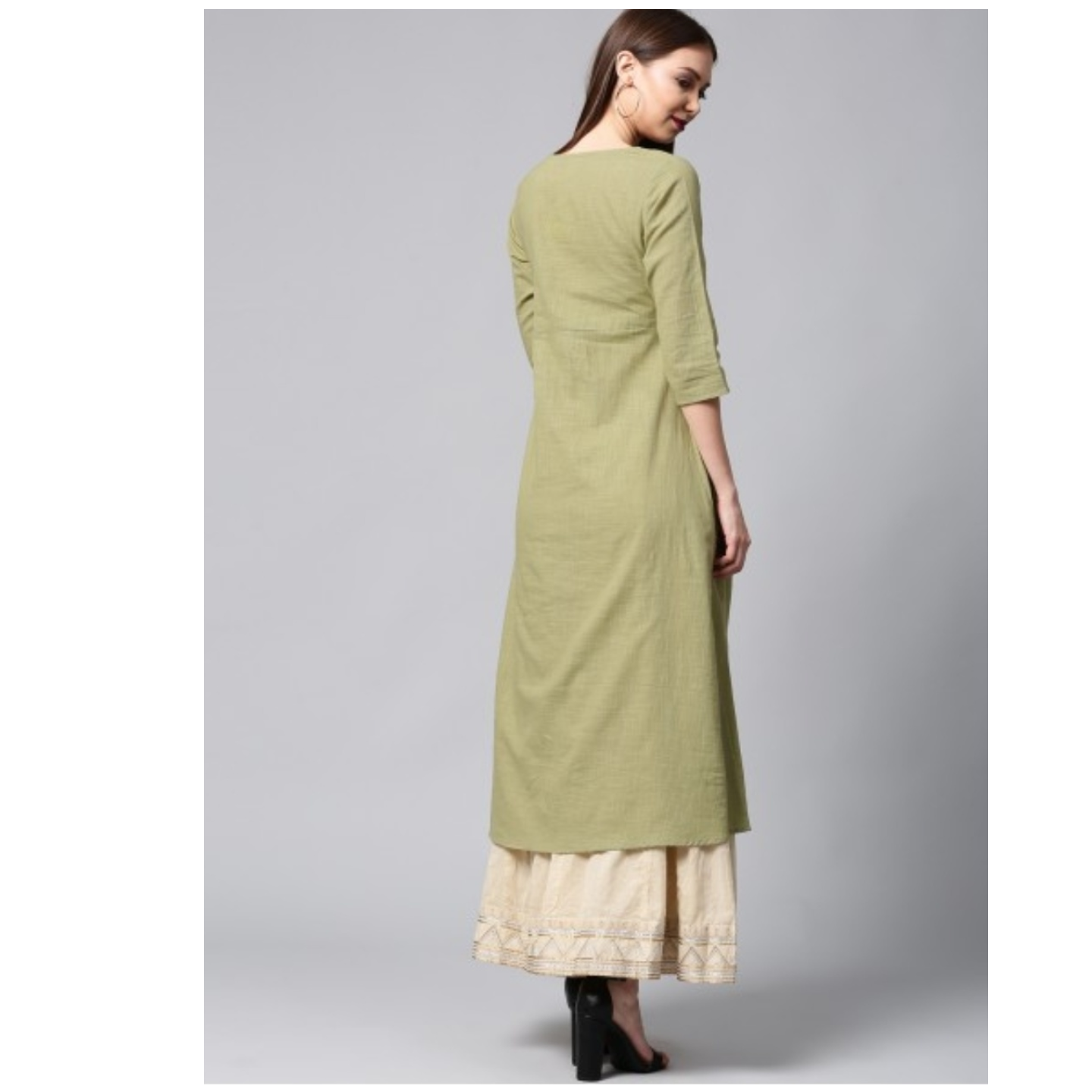 Mint Green Solid A-Line Kurta With Pocket Details