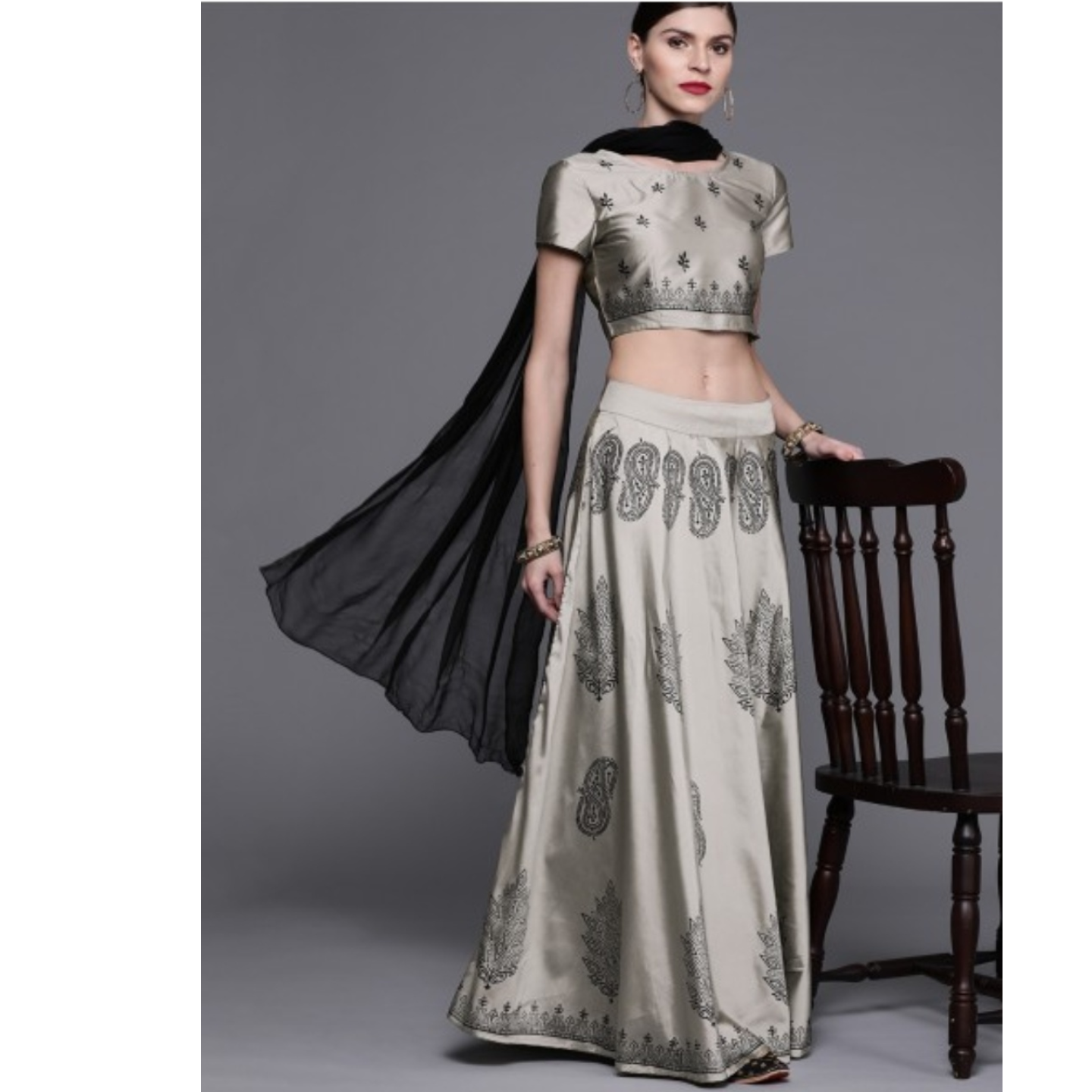 Grey & Black Block Printed Lehenga Choli With Dupatta