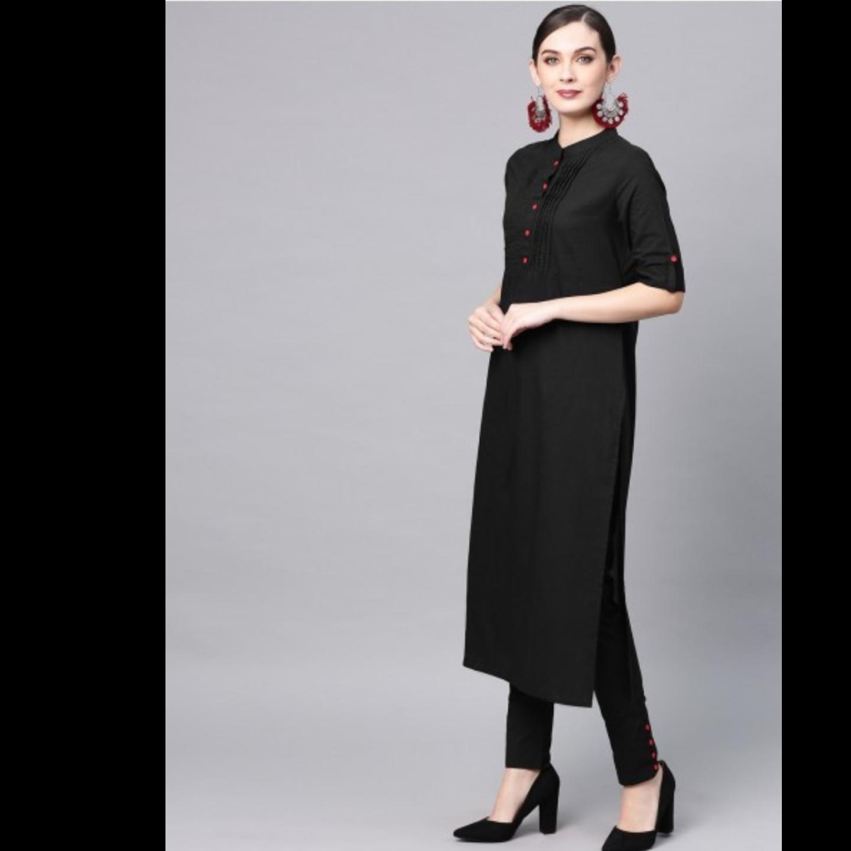 Black Solid Straight Kurta & Pant With Tie & Dye Dupatta Set