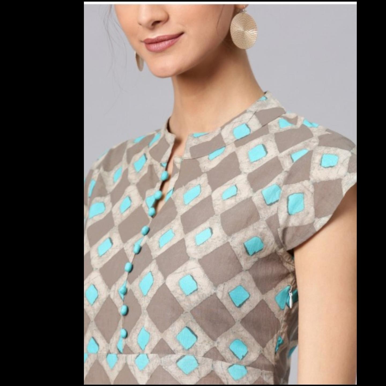Grey & Blue Printed Side Slit Maxi