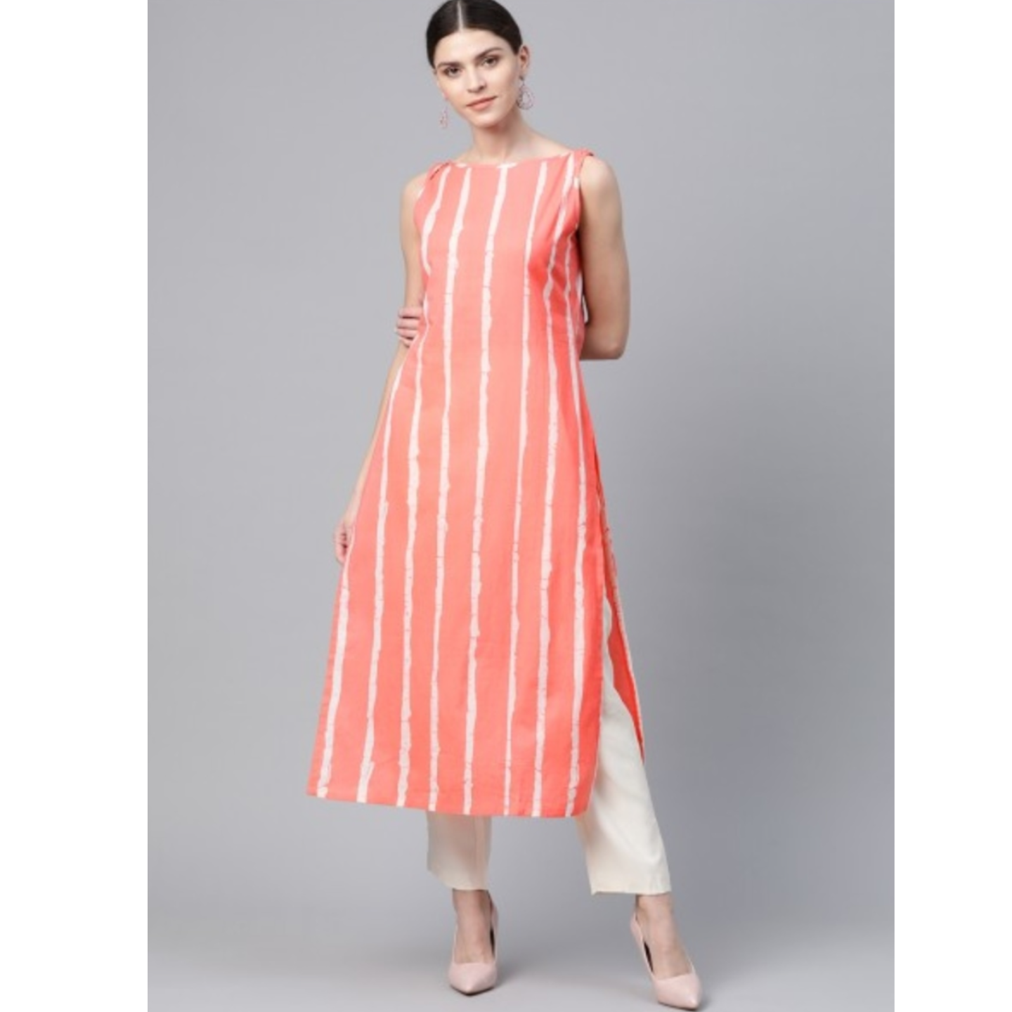 Coral Orange & White Leheriya Print Straight Kurta