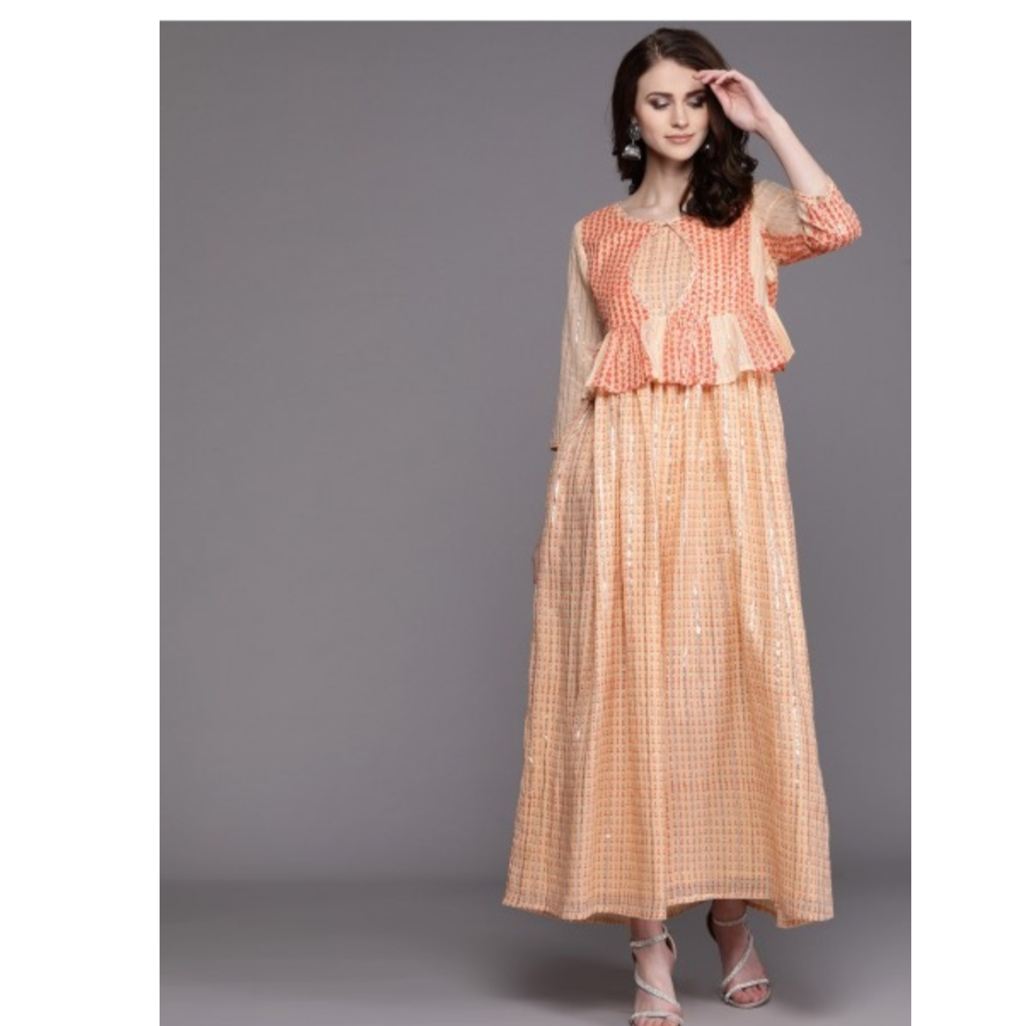 Peach-Coloured Printed Maxi Dress With Ethnic Jacket