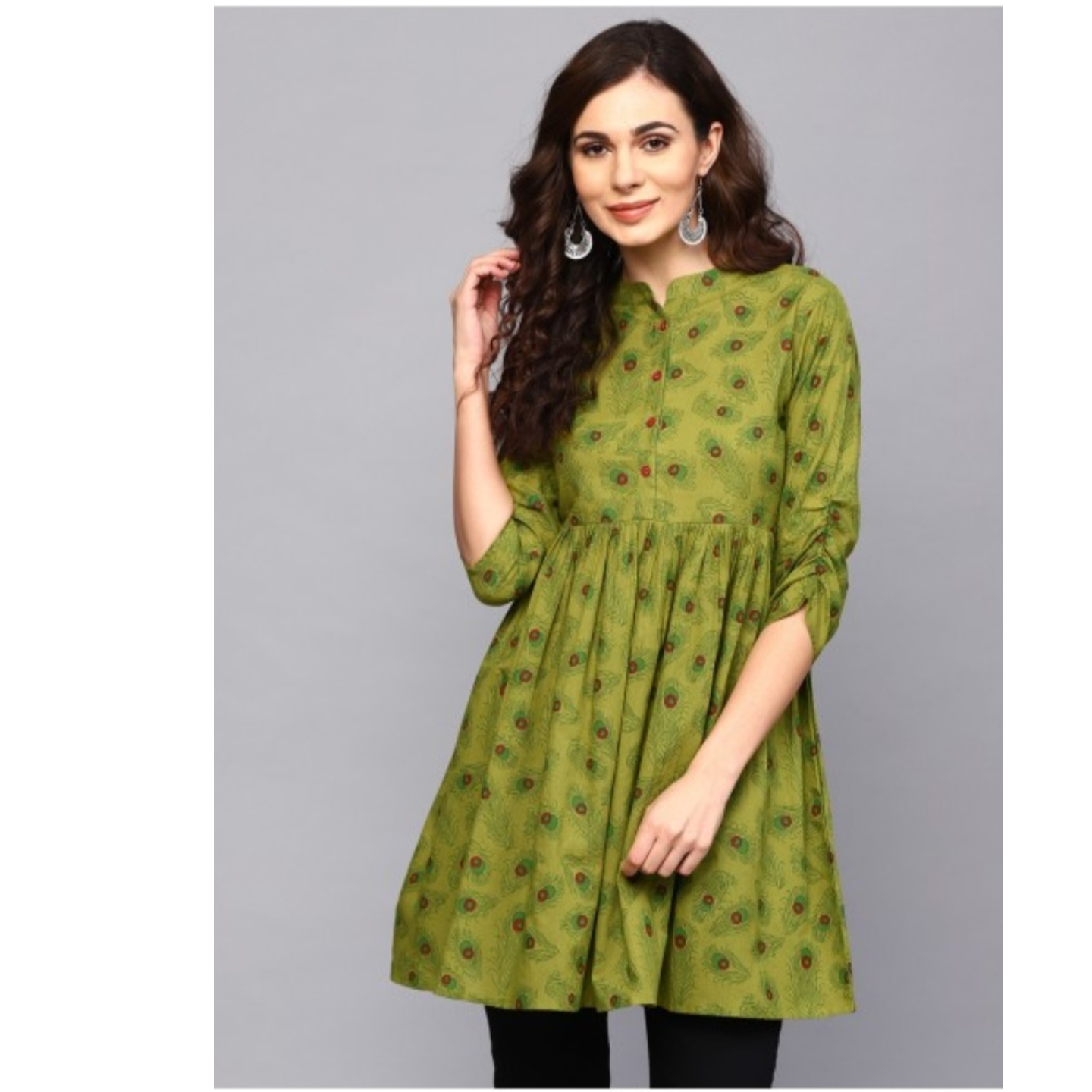 Green Feather Print Pleated Tunic