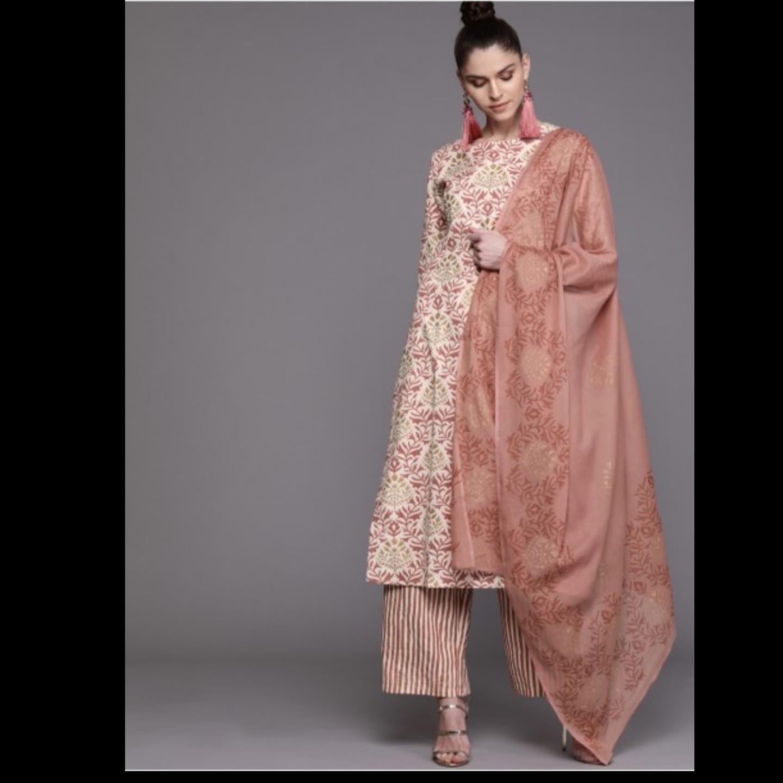Off-White & Dusty Pink Printed Kurta With Palazzos & Dupatta