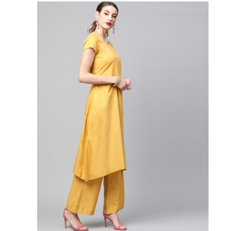 Yellow Solid Kurta Set With Digital Printed Dupatta