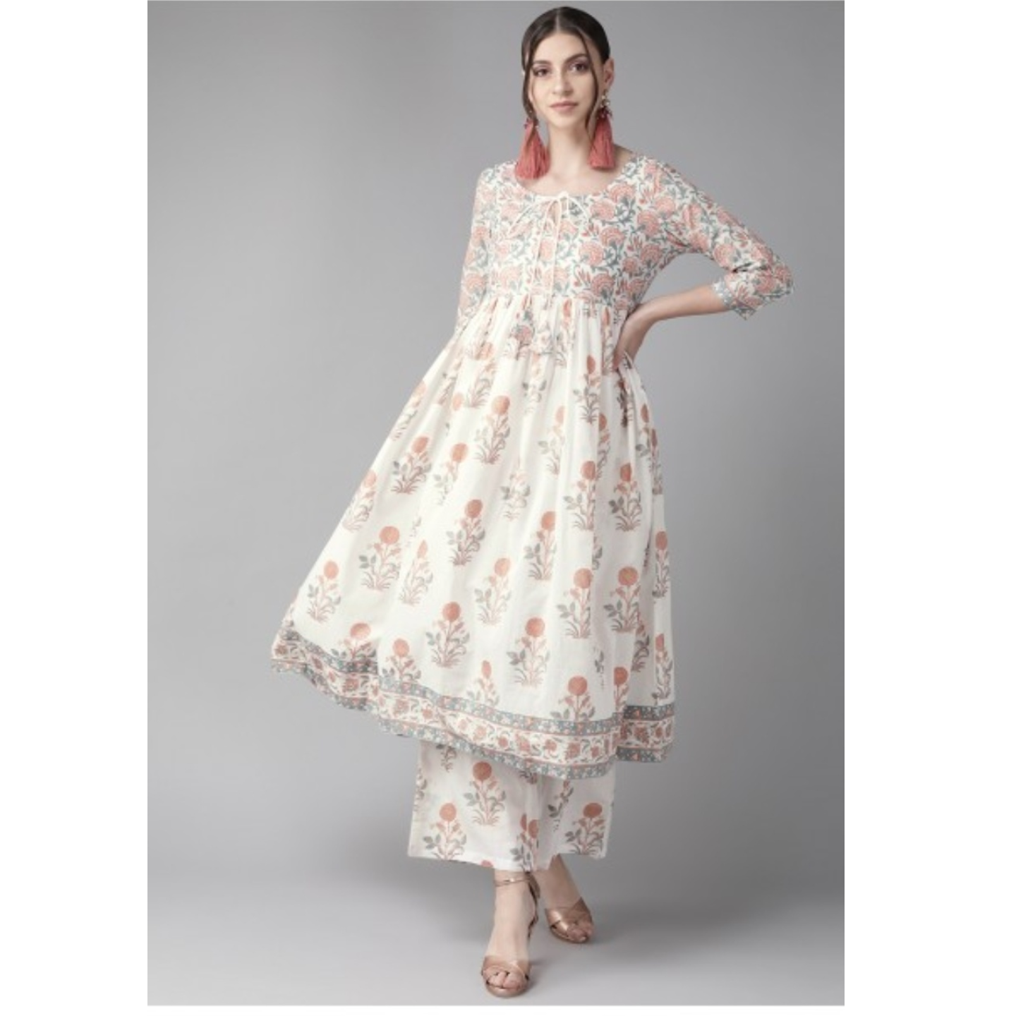 White & Rust Red Printed Anarkali Kurta