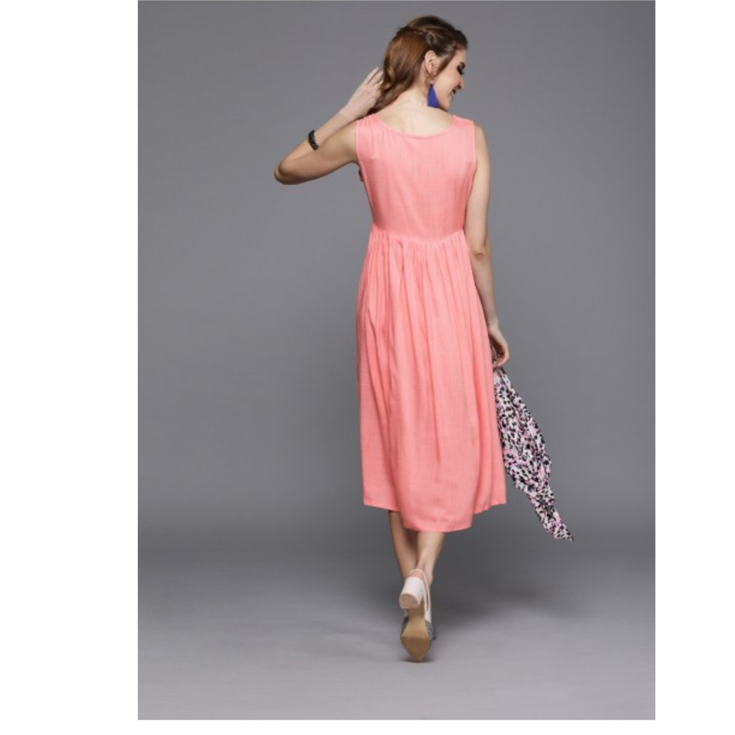 Pink Solid Fit And Flare Dress With Embroidery