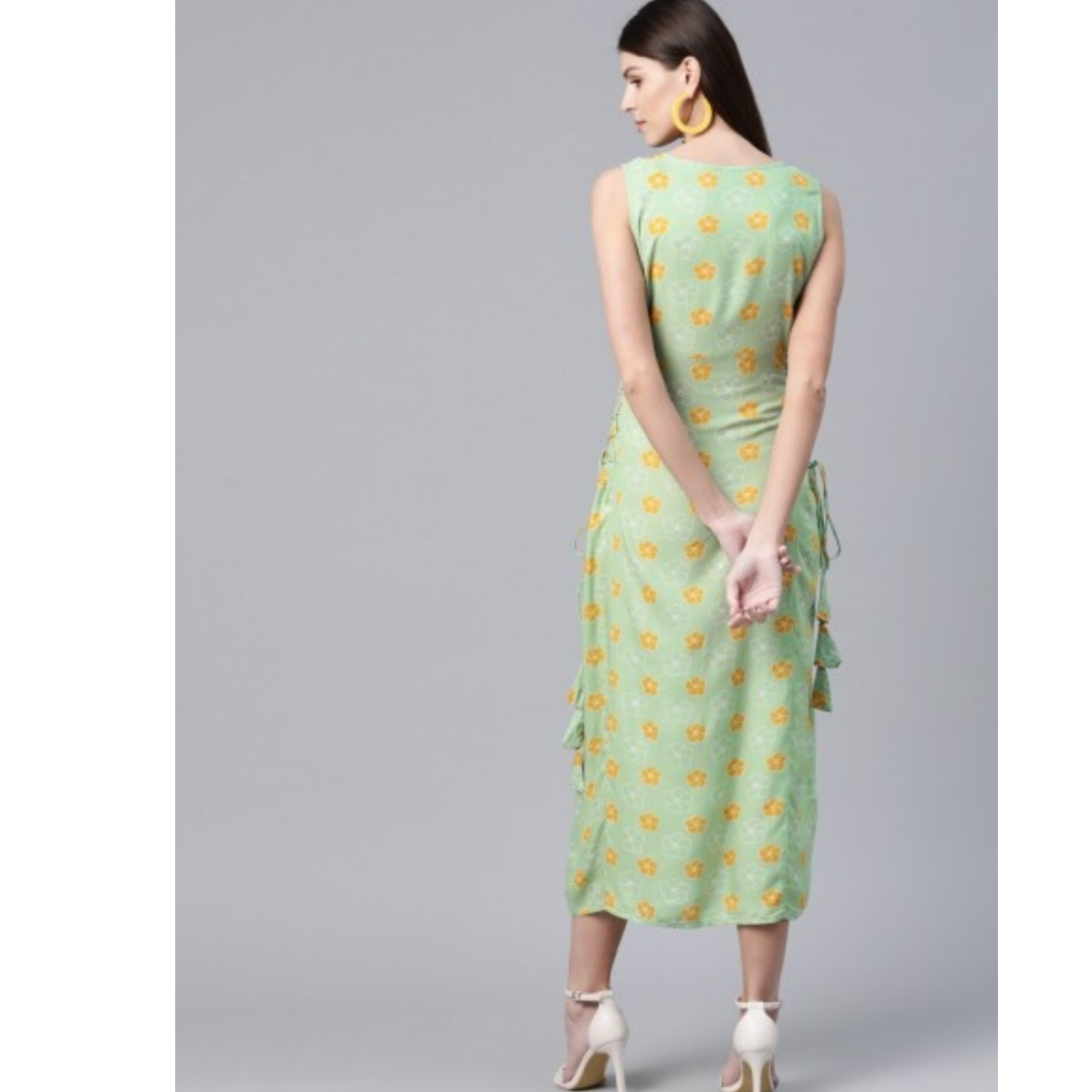 Green & Mustard Yellow Floral Printed A-Line Dress