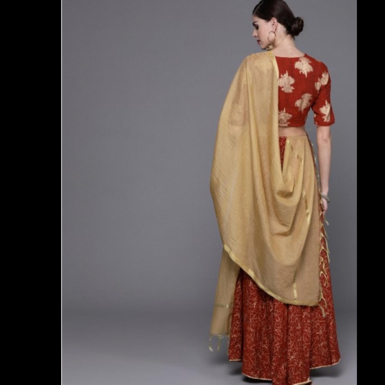 Red & Golden Printed Lehenga Choli With Dupatta