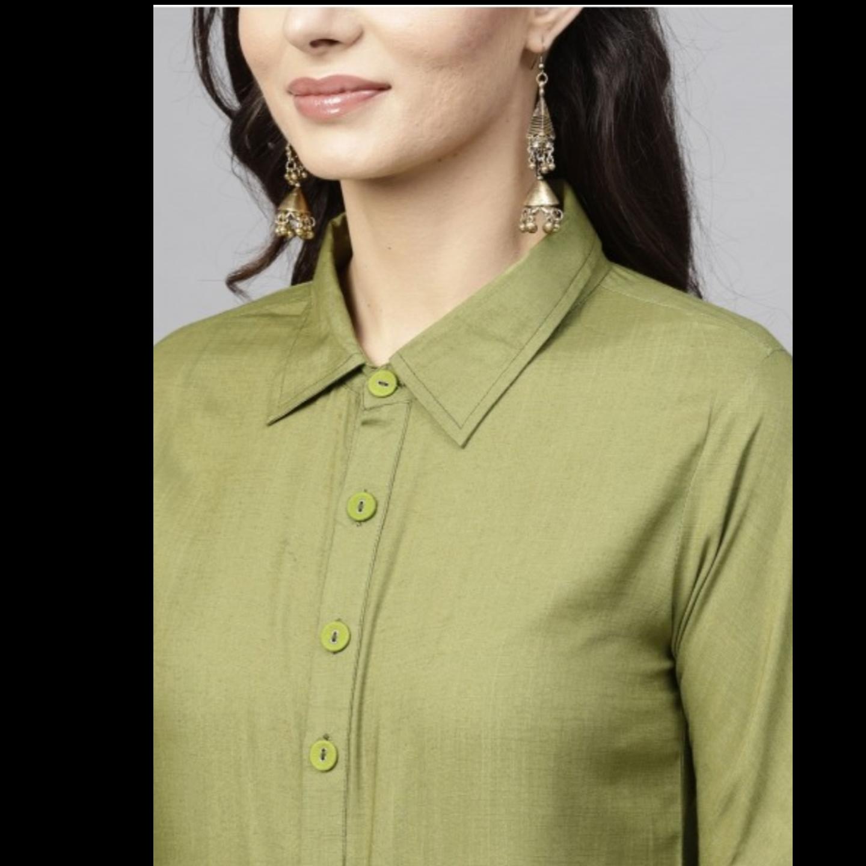 Olive Solid Straight Kurta With Full Sleeve